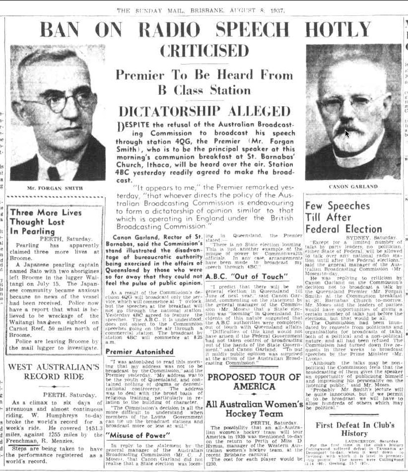 "Image of excerpt from ""The Sunday Mail"", 8 August 1937, page 2"