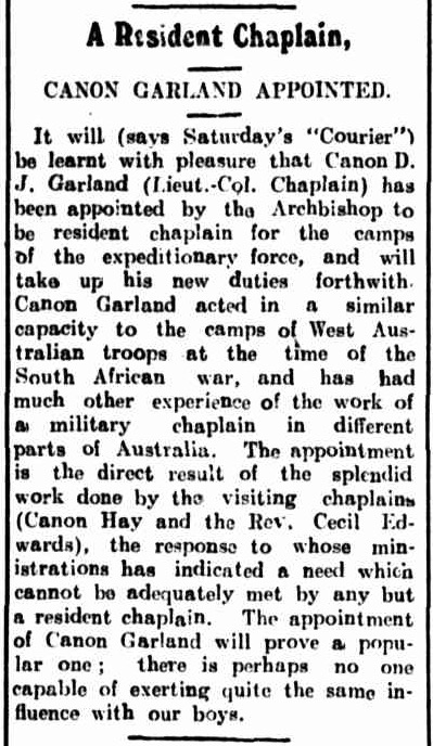 Item about Fr Garland coming to Enoggera training camp.
