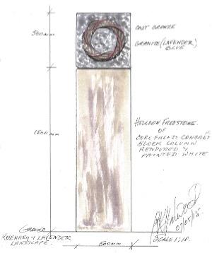 Artist, Dr Rhyl Hinwood's mock-up of the Garland Memorial.